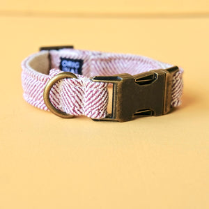 Adjustable herringbone cotton dog collar made by Original Fuzz in Nashville.