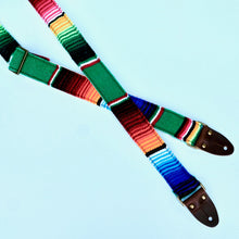 Original Fuzz Mexican serape blanket guitar strap in green in the new skinny width.