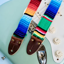 Original Fuzz Mexican serape blanket guitar strap in green in the new skinny width with a Fender guitar.