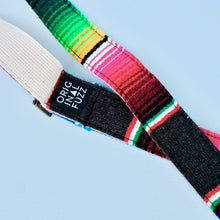 Original Fuzz Mexican serape blanket guitar strap in the new skinny width in dark grey.