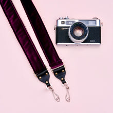 Original Fuzz purple velvet camera strap in the new skinny width with vintage camera.