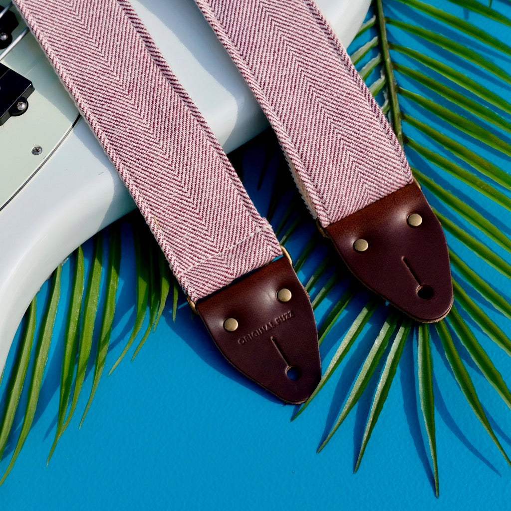 Original Fuzz Summer Sale 2019 featuring the Indian guitar strap in red and cream herringbone woven cotton.