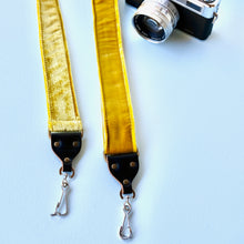 Yellow velvet vintage-style camera strap made in Nashville by Original Fuzz.