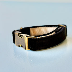 Small Velvet Dog Collar in Black Product detail photo 0
