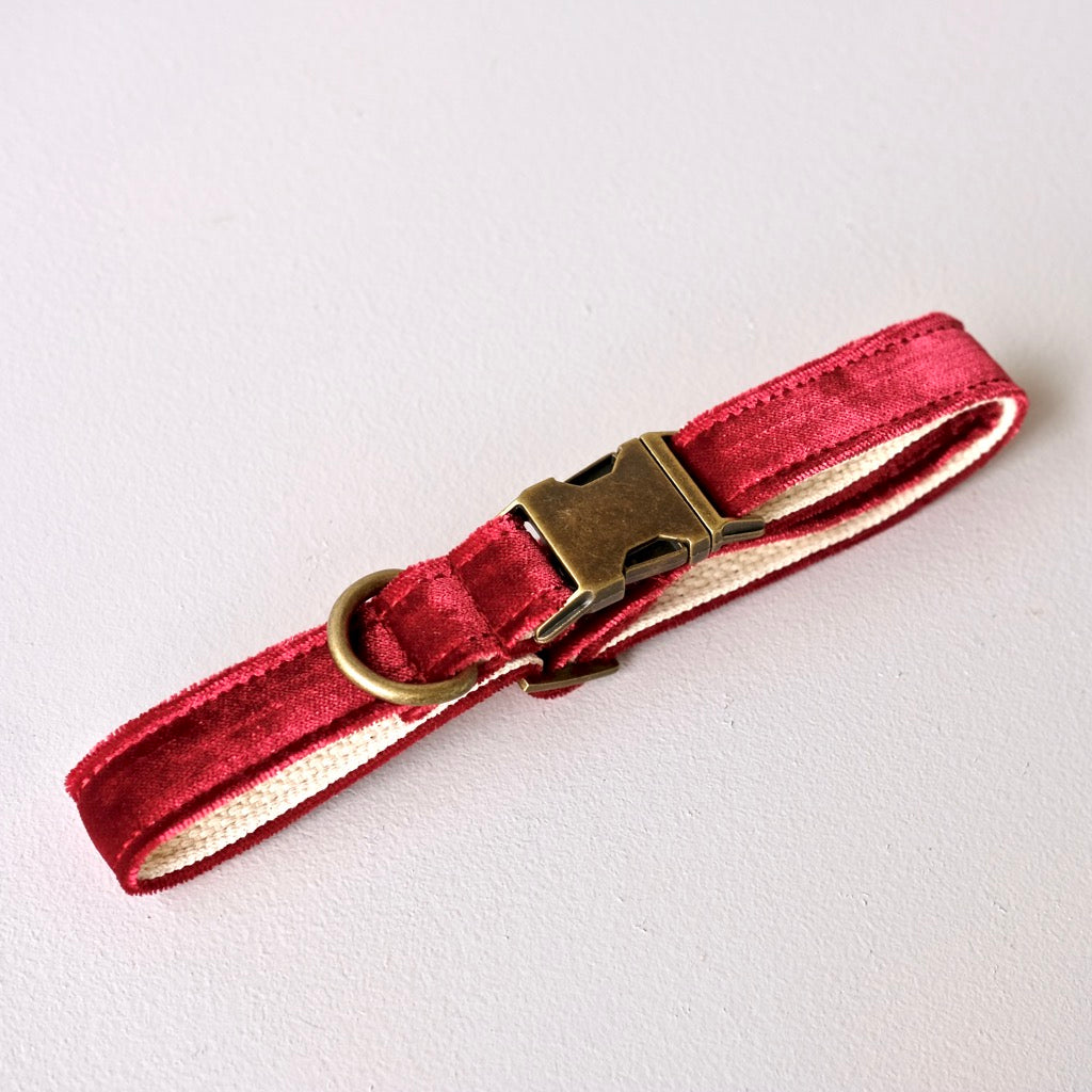 Original Fuzz burgundy velvet dog collar made in Nashville.