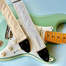 Cream velvet vintage-style guitar strap made in Nashville by Original Fuzz.