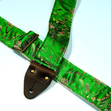 Another shot where you can see the texture of this silk brocade fabric used in this guitar strap