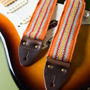 Peruvian Guitar Strap in Orange Stripes Product detail photo 3
