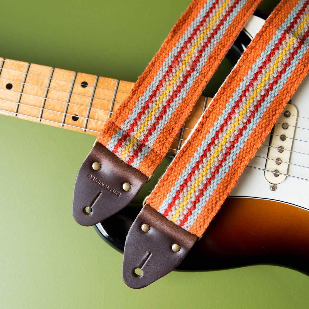 Peruvian Guitar Strap in Orange Stripes