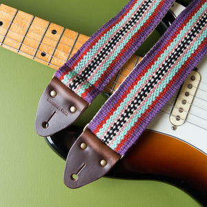 Peruvian Guitar Strap in Purple Stripes