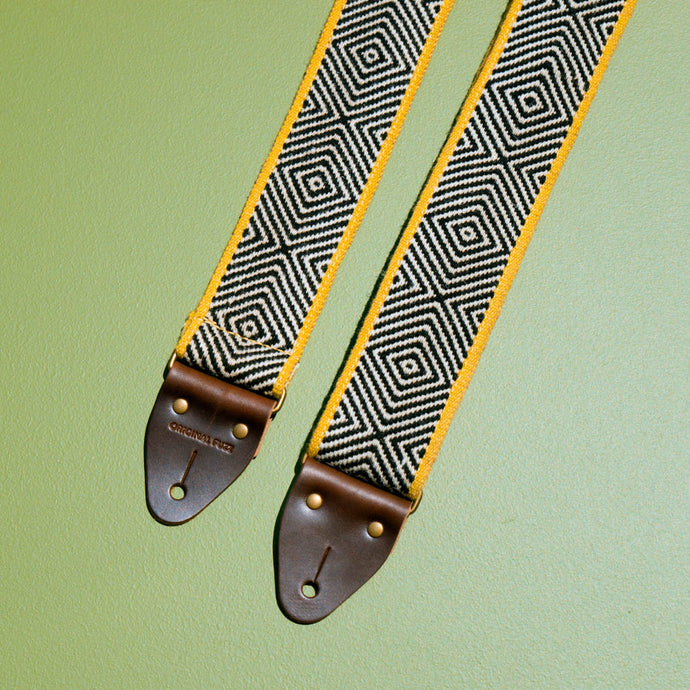 black yellow handwoven Peruvian guitar strap by original fuzz