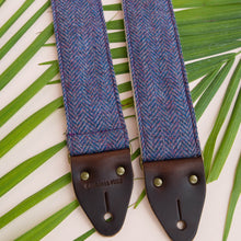Original Fuzz blue and purple wool herringbone guitar strap named after Jefferson Street in Nashville