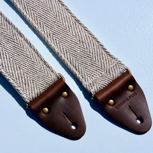 Black and cream woven guitar strap made in Nashville using fair-trade fabric from India.