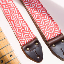 red white geometric guitar strap by original fuzz