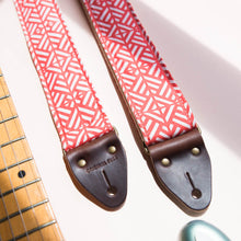 red and white tribal print vintage style guitar strap by original fuzz