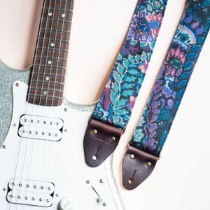 80s purple black teal paisley vintage guitar strap by original fuzz