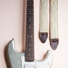 silver blue grey reclaimed vintage guitar strap by original fuzz