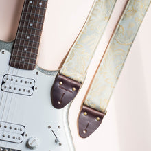 Light blue paisley embroidered vintage guitar strap by Original Fuzz.