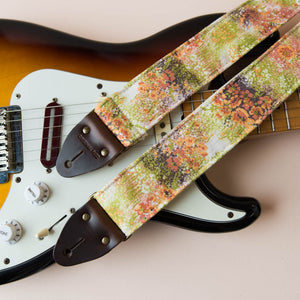 Vintage guitar strap made with 70s floral polyester by Original Fuzz.