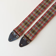 Vintage guitar strap made with repurposed red plaid flannel by Original Fuzz.