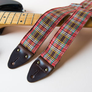 Reclaimed vintage guitar strap in red plaid - photo 5