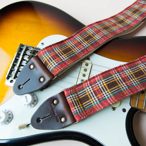 Reclaimed vintage guitar strap in red plaid - photo 6