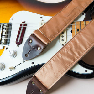 Reclaimed vintage guitar strap in gold satin - photo 4