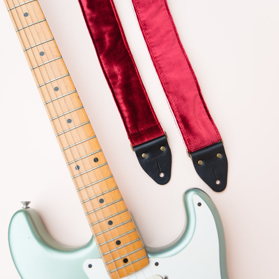 elegant red velvet guitar strap by Original Fuzz