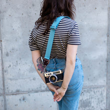 sky blue seatbelt vintage style camera strap by original fuzz