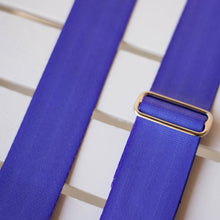 cobalt purple blue seatbelt guitar strap by original fuzz
