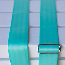 surf green seatbelt guitar strap by original fuzz
