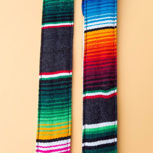 Gray Mexican serape blanket guitar strap in Carbón by Original Fuzz