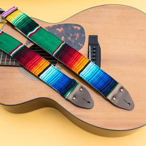 Green Mexican serape blanket guitar strap in Avocado by Original Fuzz