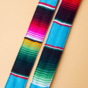 Blue Mexican serape blanket guitar strap in Desmachine by Original Fuzz