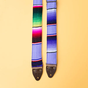 Purple Mexican serape blanket guitar strap in Prickly Pear by Original Fuzz