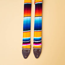 Yellow Mexican serape blanket guitar strap in El Dorado by Original Fuzz