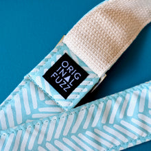 Light blue silkscreened guitar strap handmade in Nashville by Original Fuzz.