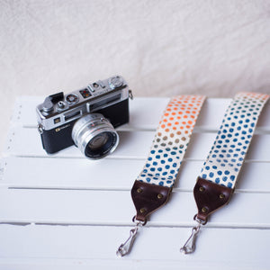 polka dots silkscreen vintage style camera strap by original fuzz and grand palace