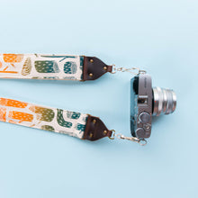 tree stumps silkscreen vintage style camera strap by original fuzz and grand palace
