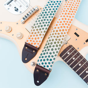 blue orange green purple polka dots silkscreen guitar strap by Original Fuzz and Grand Palace
