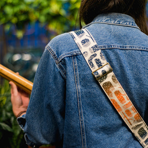 tree stumps silkscreen guitar strap by original fuzz and grand palace