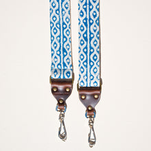 Blue and white block printed vintage-style camera strap made with fabric stamped in India by Original Fuzz in Nashville.