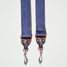 Blue wool herringbone skinny vintage-style camera strap made by Original Fuzz in Nashville.