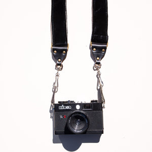 Black velvet camera strap handmade in Nashville by Original Fuzz.
