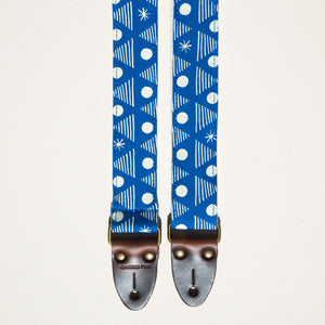 Real Estate's bassist Alex Bleeker designed this skinny guitar strap for Original Fuzz made with blue cotton and silkscreened by Grand Palace with white ink in Nashville, TN.