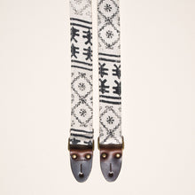 Cream and black block print skinny guitar strap made with fabric from India by Original Fuzz in Nashville, TN.