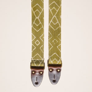Green and cream Indian block print skinny guitar strap by Original Fuzz in Nashville, TN.