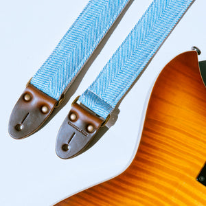 Light blue and cream woven herringbone skinny guitar strap from India collection by Original Fuzz