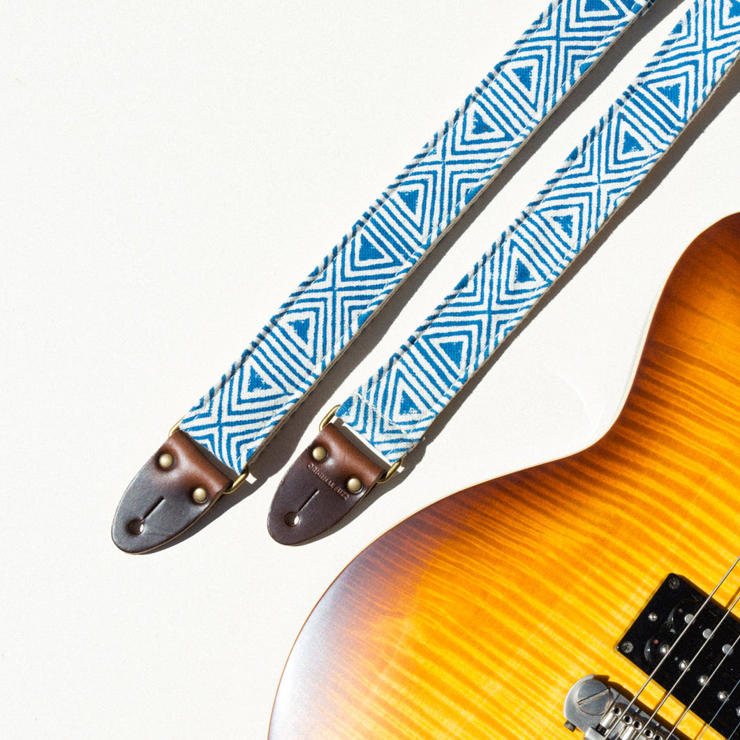 Blue and white skinny guitar strap made with block printed fabric from India by Original Fuzz in Nashville, TN.