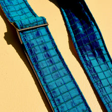 Teal Dupioni silk guitar strap designed by The Minks and made by Original Fuzz in Nashville.